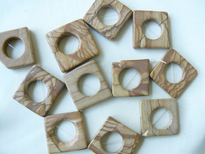 Picture Jasper Square Beads with Center Hole