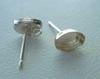 Post w/ Cab Setting - 1 Pair - 6x4mm - Sterling Silver<br>P64