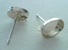 Post w/ Cab Setting - 1 Pair - 7x5mm - Sterling Silver<br>P75