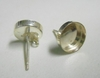 Post w/ Cab Setting - 8mm - 1 Pair - Sterling Silver<br>P8