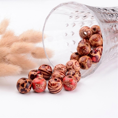 Printed Wood Beads, 10 pc. Oval, Mixed Color  Size- about 15mm long, 7mm in diameter, hole- 3mm.