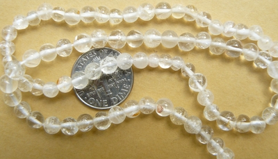 "Quartz 4mm round beads 15"" strands"