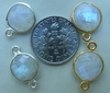 RainBow moonstone faceted gems with 1 or 2 loops silver or gold