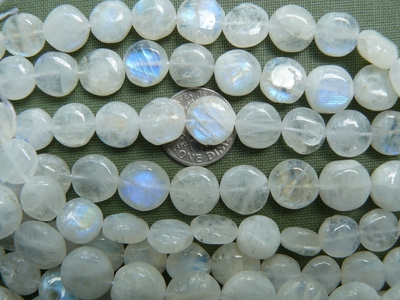 Rainbow moonstone larger buttons 5x10mm Blue flashes