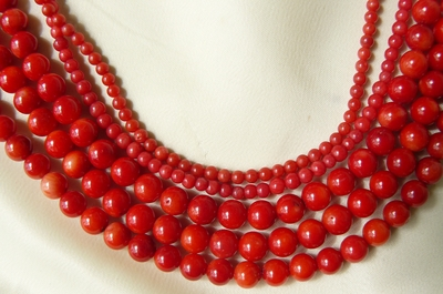 """Red Coral Round Beads 6mm 16"""" strands"""
