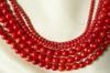 "Red Coral Round Beads 6mm 16"" strands"