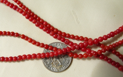 "Red Coral Round Beads size 3mm 16"" strands"