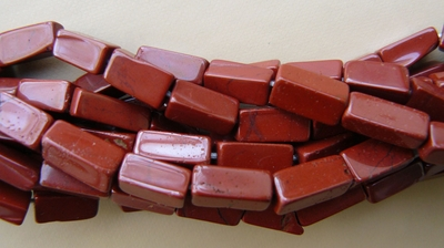"Red Jasper Brick Beads 5x5x12mm Natural stone 15"" strand"