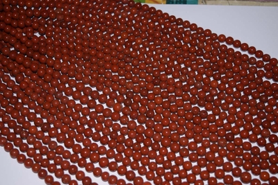 "Red Jasper Mala Beads 14"" strands 7.5-9mm Round"