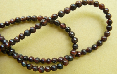 "Red Tiger Eye Beads 4mm rounds 16"" strands"