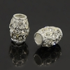 Rhinestone European Beads, Large Hole Beads, Barrel, Silver, 13x10mm, Hole: 5mm