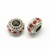 Rhinestone European Beads, Rondelle Large Hole Beads, Hyacinth, 11x7mm, Hole: 5mm