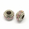 Rhinestone European Beads, Rondelle Large Hole Beads, Light Rose, 11x7mm, Hole: 5mm