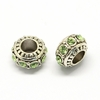 Rhinestone European Beads, Rondelle Large Hole Beads, Peridot, 11x7mm, Hole: 5mm