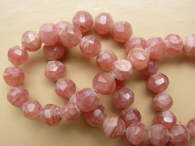 "Rhodcrosite Round Faceted Beads 16"" Strands"
