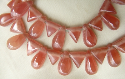 Rhodochrosite drops and Triangles