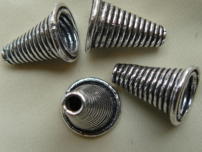 Ridged Cone - 17mm - 4 Pieces - .999 Silver Over Copper