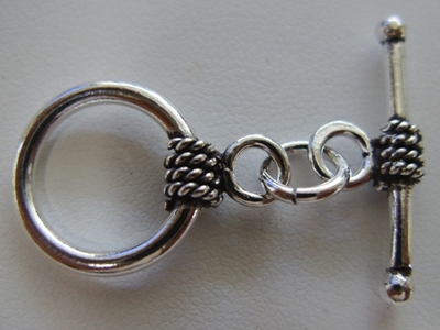 Rope Detail Toggle - 15mm Circle w/ 25mm Bar - 5 Clasps - .999 Silver Over Copper