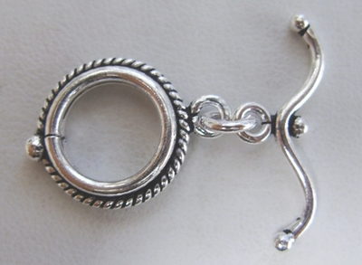 Rope Detail Toggle - 15mm Circle w/ 25mm Curved Bar - 5 Clasps - .999 Silver Over Copper