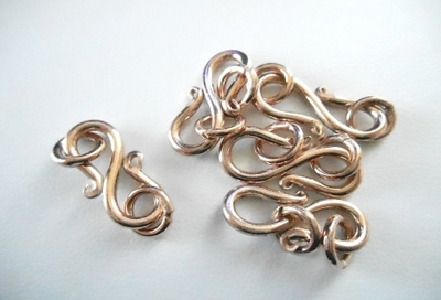 """S"" Hook Clasp - 5 Clasps - 19mm - Rose Gold Over Copper<br>SIT24"