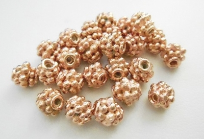 Bead - 5x5mm - 24 Pieces - Rose Gold Over Copper<br>SIB10