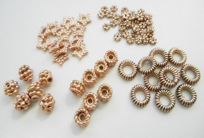- Beads and Spacers - Rose Gold Over Copper