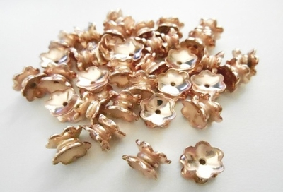 Double Caps - 5x7mm - 34 Pieces - Rose Gold Over Copper<br>SBIC23