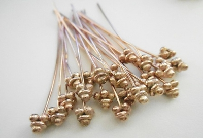 "Fancy Head Pins - 2"" - 24 Pieces - Rose Gold Over Copper<br>SHP02"