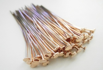 "Flat Tip Head Pins - 2"" - 54 Pieces - Rose Gold Over Copper<br>SHP-11"