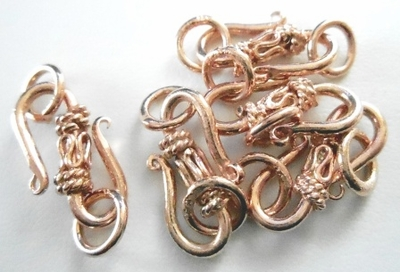 """S"" Hook w/DetailRose - 20mm - 5 Pieces - Gold Over Copper<br>SICF01"