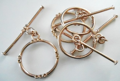 Toggle - 4 Sets - 23x43mm - Rose Gold Over Copper<br>SIT13