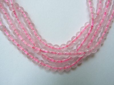 "Rose Quartz Beads 6mm Round Smooth 16"" Strands"