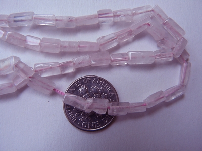 "Rose Quartz Beads Brick cut aproximatley 4x6mm 16"" strands"