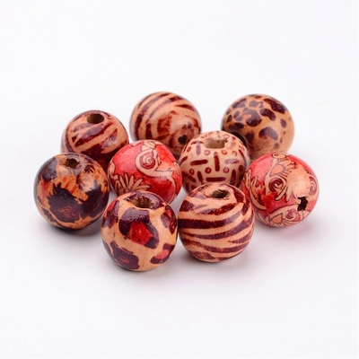 Round Printed Wood Beads,10 pc. Mixed Color  Size- about 16mm in diameter, 15mm thick, hole-5mm.