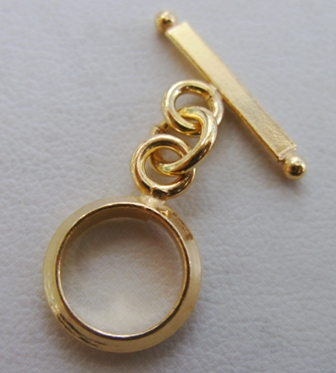 Round Toggle - 12mm Circle w/ 18mm Bar - 9 Sets - 24Kt. Gold Over Copper