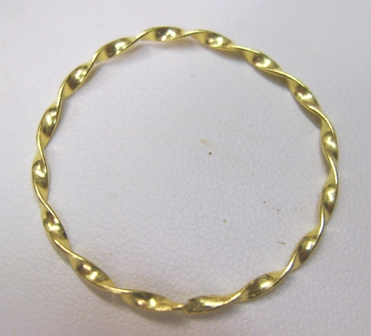 Round Twisted Connector - 35mm - 7 Pieces - 24KT Gold Over Copper Core