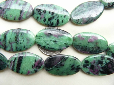Ruby Zoisite 30x18mm Flat Oval Beads Natural colors