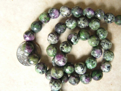 Ruby Zoisite Faceted 8mm beads Natural Colors