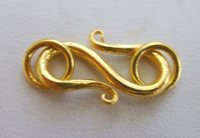 S-Hook Clasp - 18mm Clasp w/ 6mm Jump Ring - 16 Sets - 24Kt. Gold Over Copper