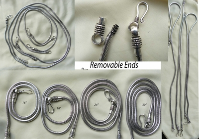Silver Chains with removable ends to acomidate large hole beads