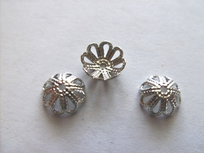 Silver Finished filigree bead caps