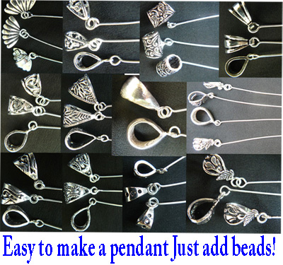 "Head Pin Bails ""Wiggle Tail Bail"" - .999 Silver Over Copper"