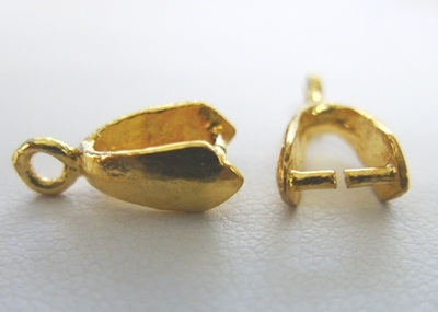 Simple Pinch Bail - 4x10mm - 20 Bails - 24Kt. Gold Over Copper