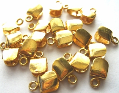 Simple Square Pinch Bail - 13x7mm - 20pcs - 24Kt Gold Over Copper