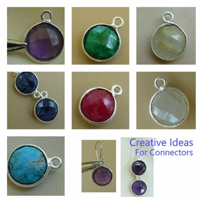 Single Loop End Connectors with Gemstone-10mm with silver Bezel