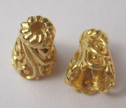 Small Fancy Cone - 10mm - 12 Pieces - 24 KT Gold Over Copper Core