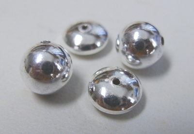 Round and Rondelle Beads - .999 Silver Over Copper