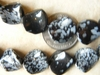 Snowflake Obsidian Beads Twisted Coin cut  Uniquely carved