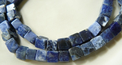 Sodalite Beads Cube shape 6x6mm 16 inch strands 65 beads