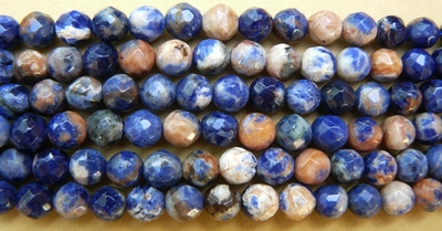 Sodalite Fancey Faceted 6mm Sodalite colorful pastel beads